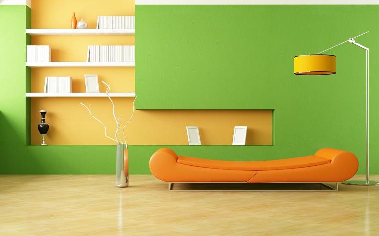 colori pareti casa-verde-arancio-living