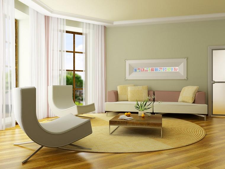 colori pareti casa-verde-chiarissimo-soggiorno