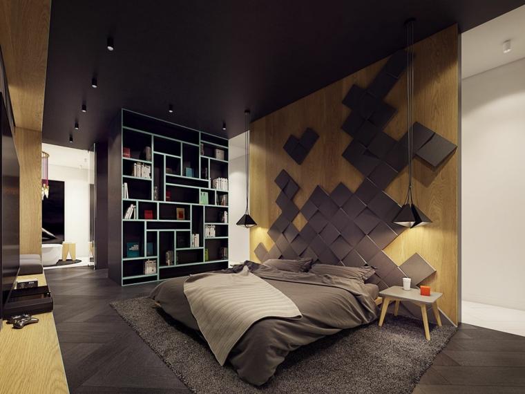 Parete dietro letto matrimoniale, parete di legno, pavimento legno grigio, soffitto colore nero