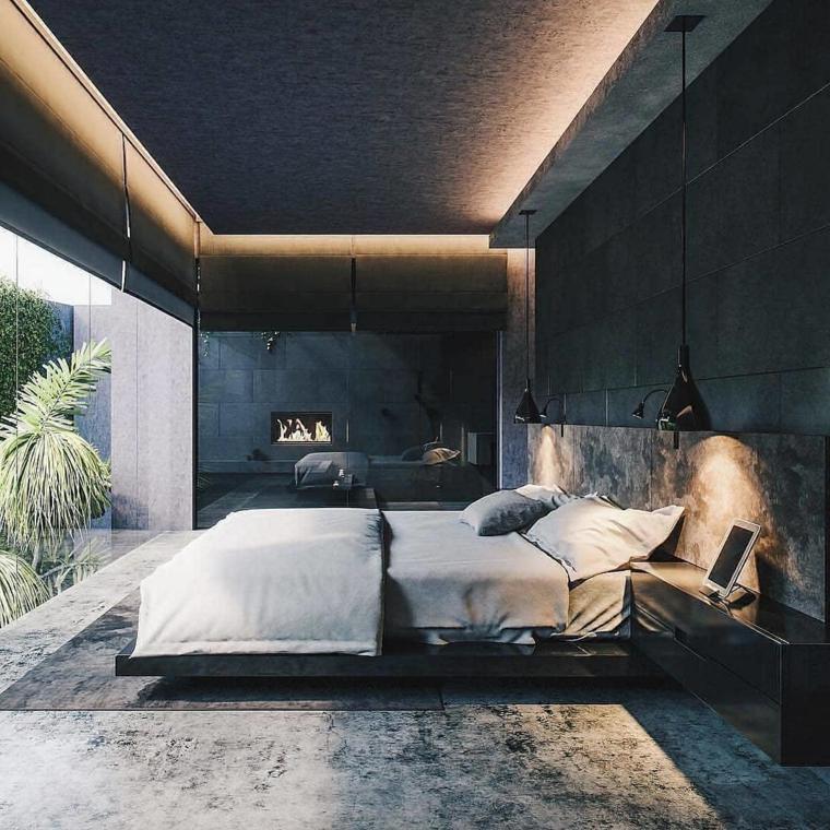 Colori camera da letto, illuminazione nascosta, pareti di colore nero, lampade sospese