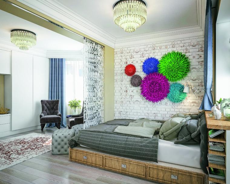 Decorazioni da parete, camera divisa con tenda, parete mattoni a vista, come pitturare una stanza