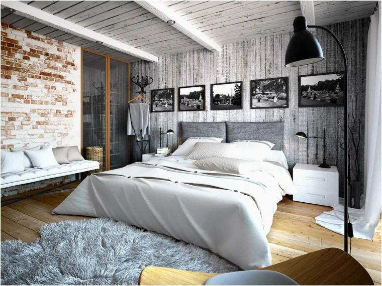 Camere matrimoniali moderne, parete con carta da parati, parete effetto mattoni