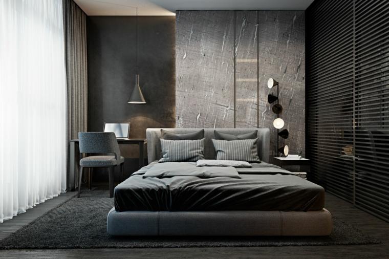 Parete divisoria in legno, testata letto in tessuto, lampada sospesa, tappeto peloso, tinte pareti