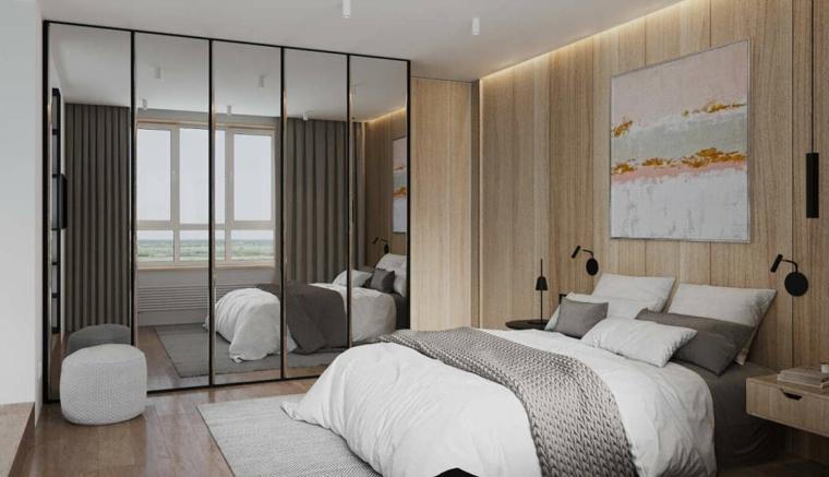 Camera da letto con armadio, parete di legno, armadio con specchi, come decorare parete dietro letto