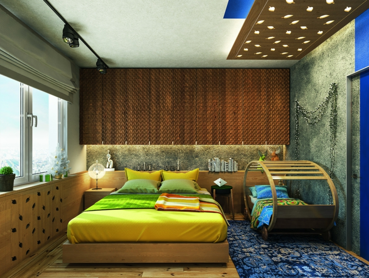 Zona notte con lettino, soffitto con lucine, illuminazione nascosta, tinte pareti colore grigio