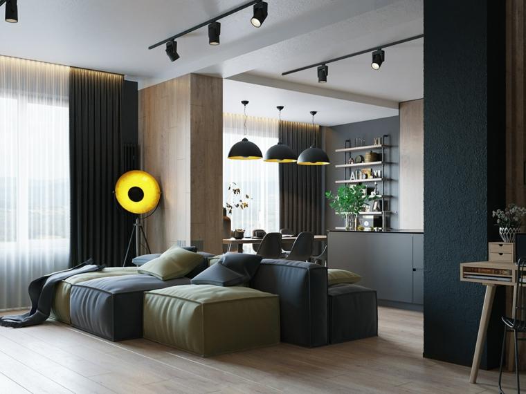 Salotti moderni, soggiorno con divano morbido, open space soggiorno e sala da pranzo