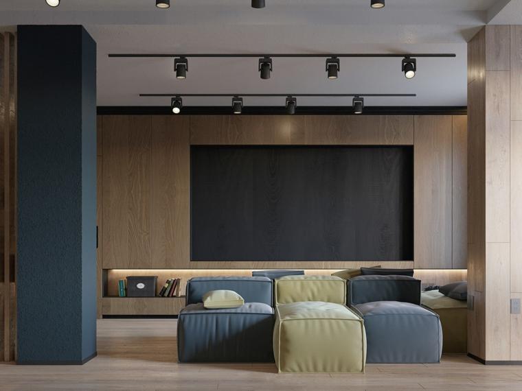 Salotti moderni, divano componibile colorato, soggiorno con parete tv schermo piatto