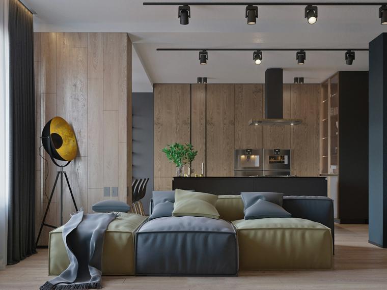 Soggiorni moderni, salotto con divano componibile colorato, open space cucina