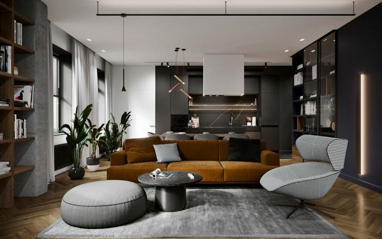 Soggiorni moderni, soggiorno con divano di colore marrone, salotto con tappeto grigio