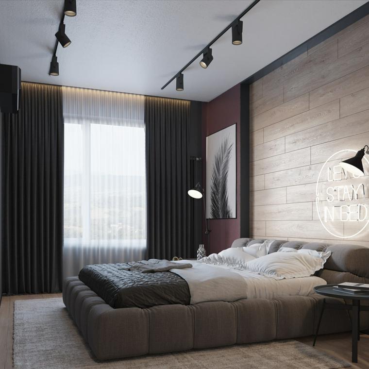 Idee arredamento camera da letto, parete con rivestimento in legno, faretti sul soffitto