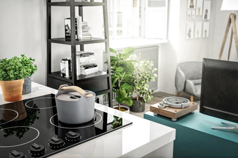 Pentola sui fornelli, decorazione cucina con piante, idee arredamento cucina