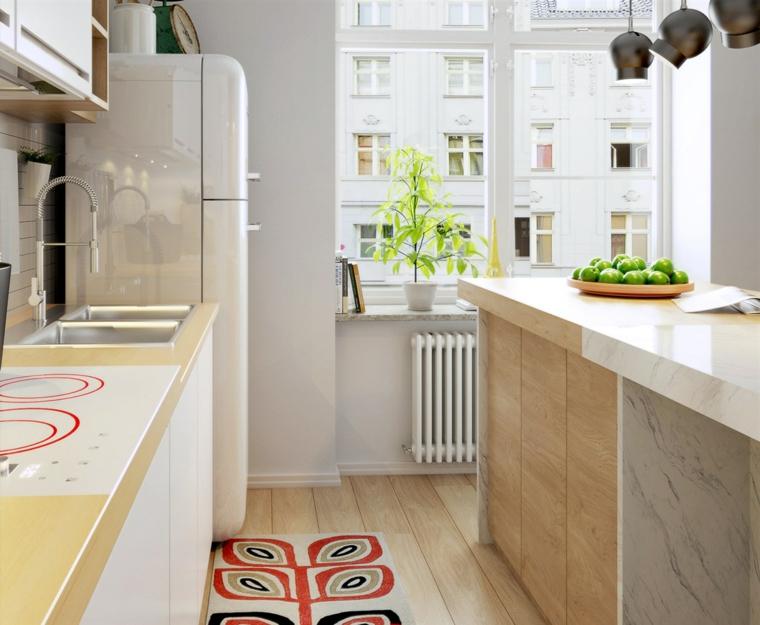 Cucina con accenti in rosso, frigorifero maschio smeg, idee arredamento cucina