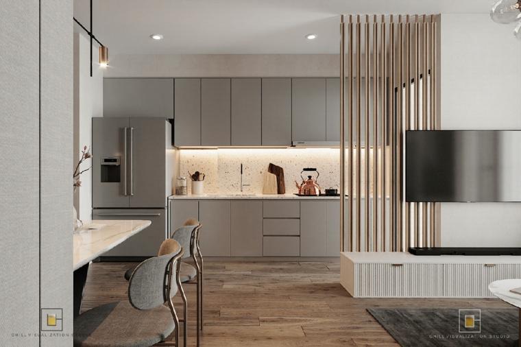 Idee arredamento cucina, cucina con mobili di legno, open space con parete divisoria