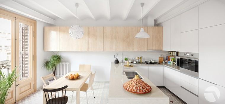 Cucina con mobili bianchi lucidi, cucina con sala da pranzo, tavolo e sedie in legno