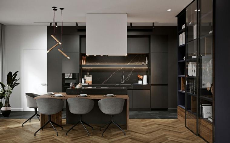 Idee arredamento cucina, isola centrale con tavolo di legno, cucina con mobili di colore nero