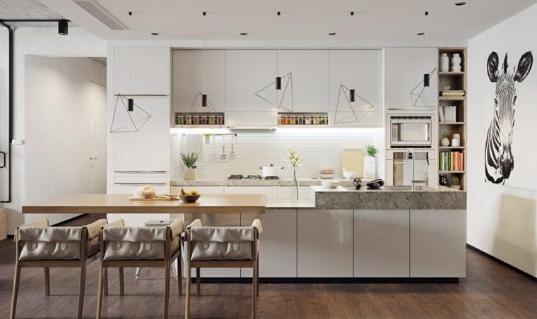 Sala da pranzo e cucina insieme, cucina con mobili di colore bianco, illuminazione con faretti sul soffitto