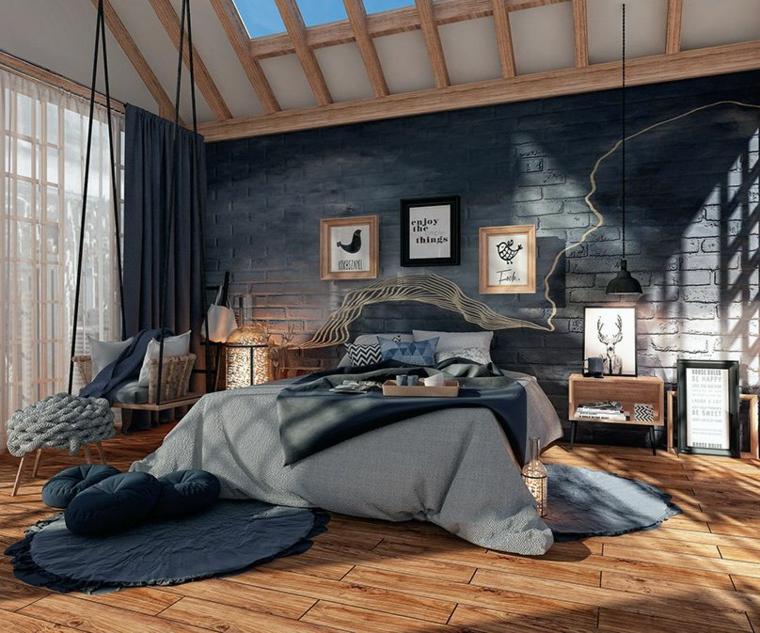Parete dietro letto matrimoniale, carta da parati effetto pietra, soffitto in legno, testata letto in corda