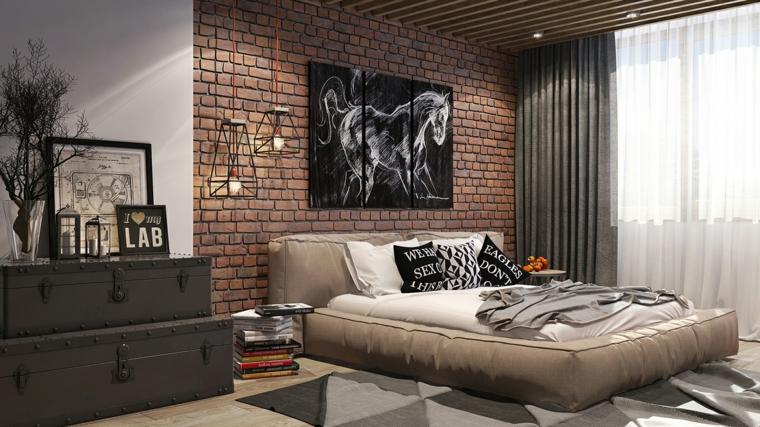 Colori rilassanti, parete con carta da parati, quadro di un cavallo, letto con imbottitura, mobile con valigie vintage