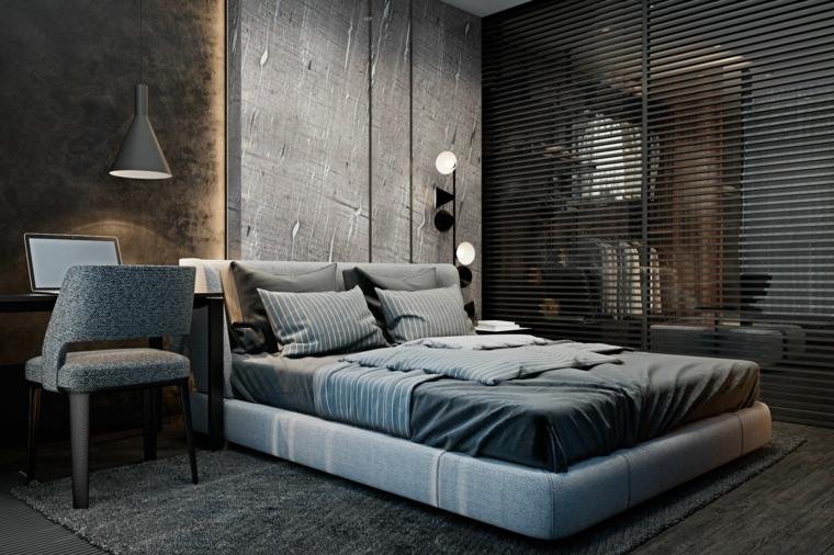 Colori rilassanti per camere da letto, parete di colore grigio, letto con testata imbottita