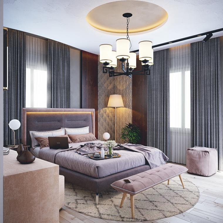 Tende di colore grigio, letto con testata imbottita, dipingere camere da letto due colori