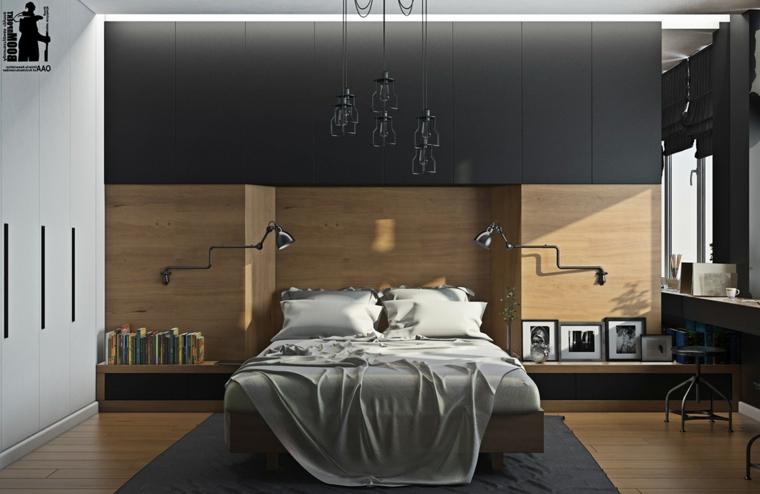 Armadio a muro, testata letto in legno, lampade in sospensione, camere matrimoniali moderne