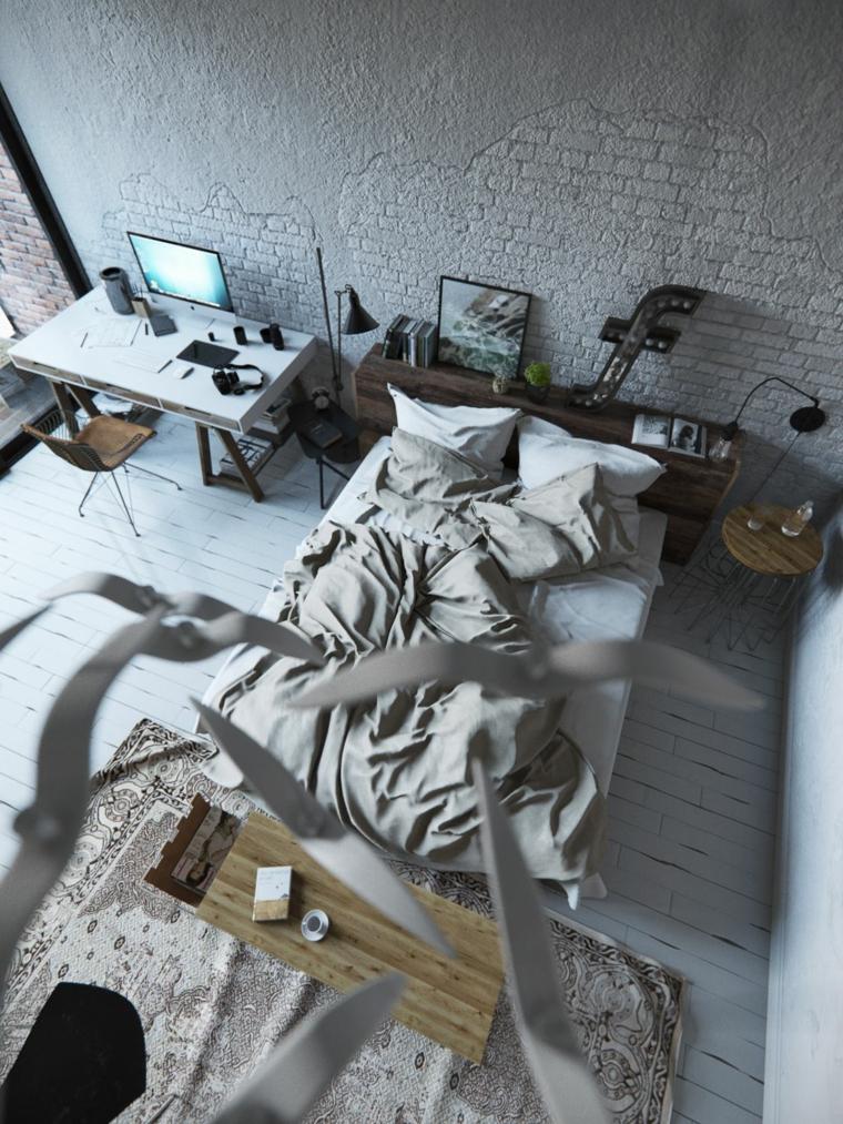 Parete con mattoni a vista, parete bianca, come decorare parete dietro letto, testata letto in legno