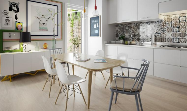 Open space cucina e sala da pranzo, come arredare la cucina, tavolo di legno con bordi arrotondati