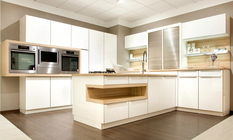 Cucina moderna bianca e legno - Cucina bianca e legno ...