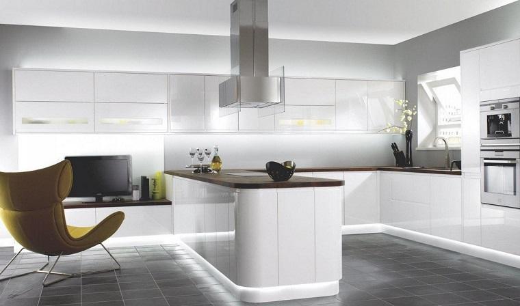 cucina bianca moderna-illuminazione-led