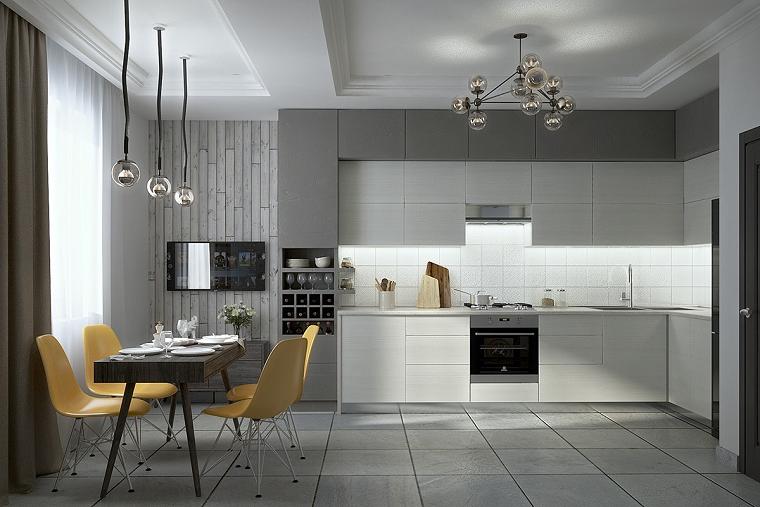 cucina grigia e bianca-sedie-colorate