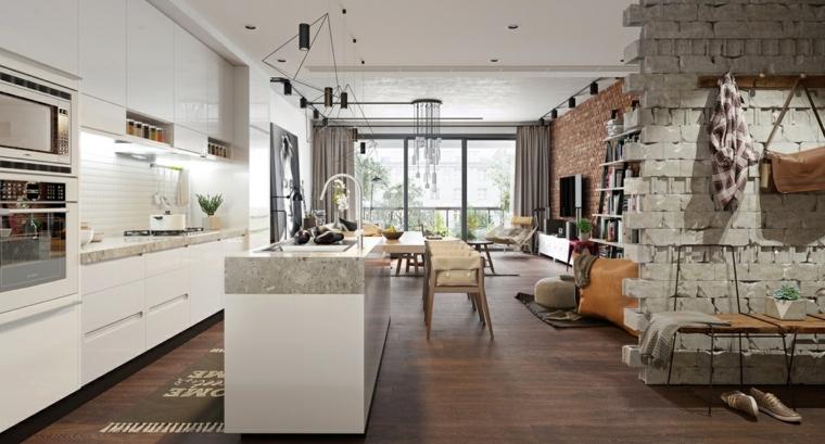 Come arredare la cucina, open space zona living, parete con mattoni a vista