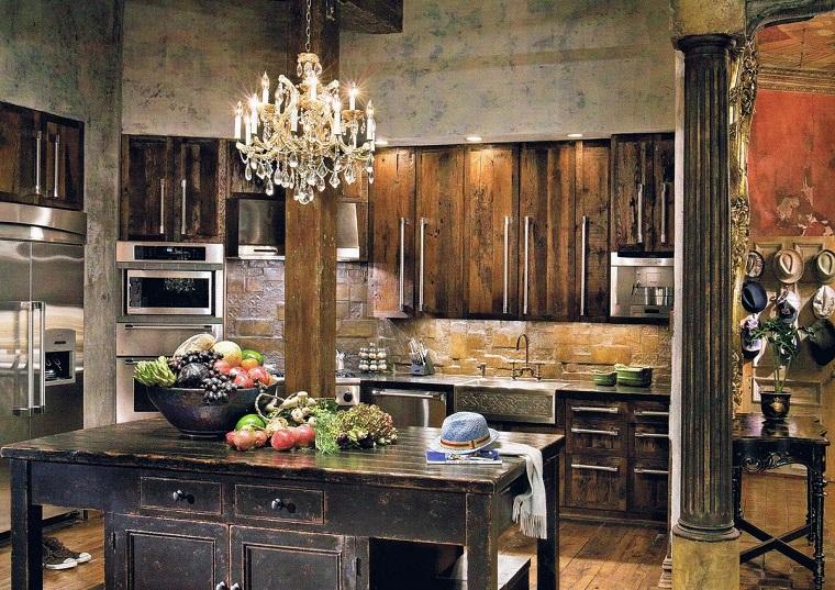 cucina-rustica-legno-pietra-isola-centrale