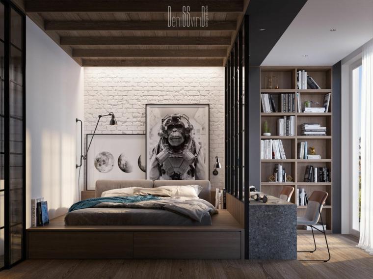 Parete divisoria in zona notte, soffitto con travi di legno, come decorare parete dietro letto