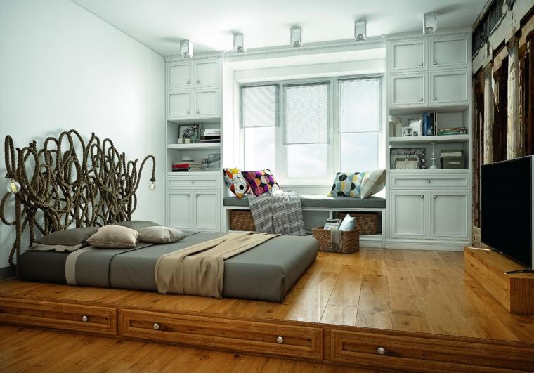 Testata letto con corda, camera con piccolo soppalco, colori rilassanti per camere da letto