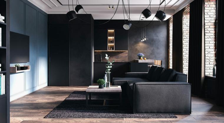 Salotti moderni, divano in tessuto di colore nero, open space soggiorno cucina