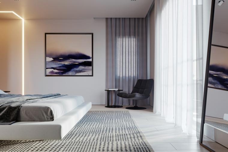 Colori rilassanti per camere da letto, tappeto a pois, tende di colore grigio, letto sospeso