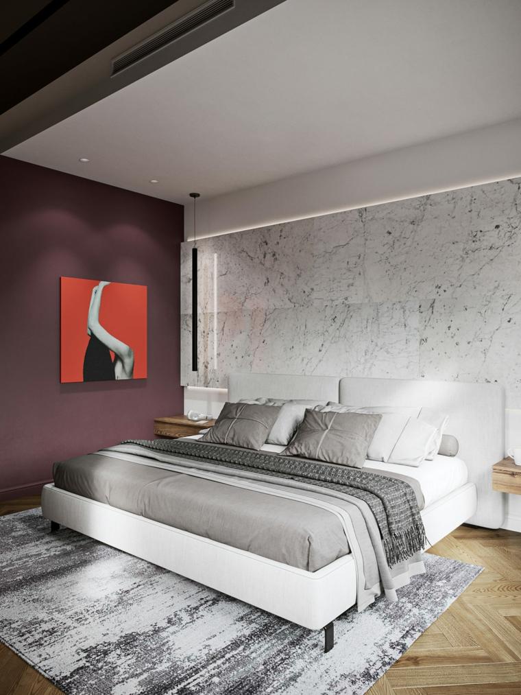 Arredamento moderno casa, camera da letto con parete in marmo, wall accent di colore viola