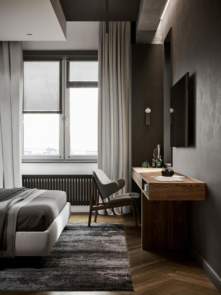 Arredamento moderno casa, camera da letto con scrivania, zona notte con pavimento in legno