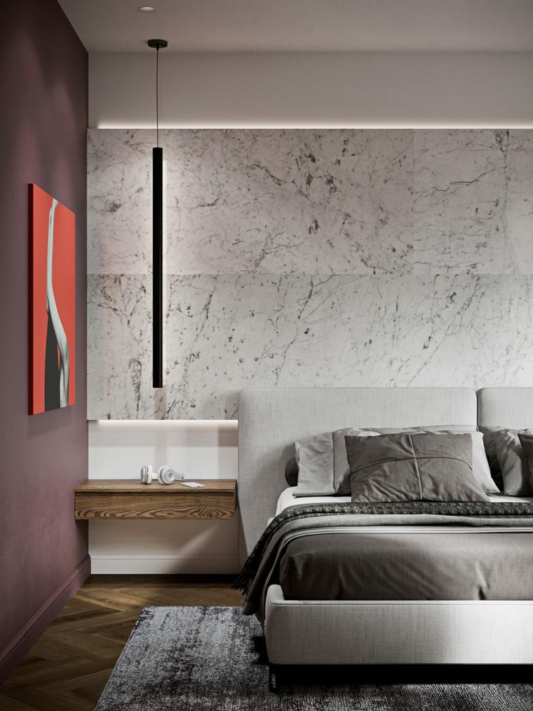 Come arredare la casa, camera da letto con comodini sospesi, parete con rivestimento in marmo
