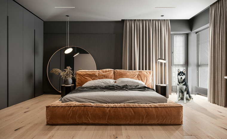 Come arredare la casa, letto con testata in tessuto marrone