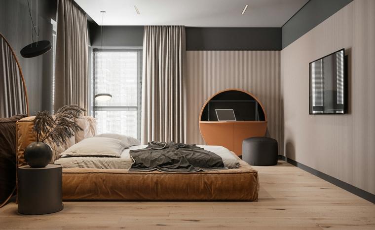 Arredamento moderno casa, zona notte con letto in tessuto morbido