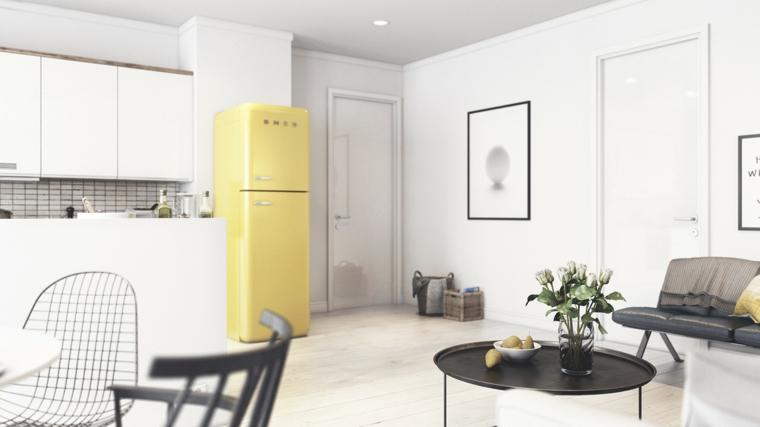 Cucina soggiorno open space, cucina con mobili di colore bianco