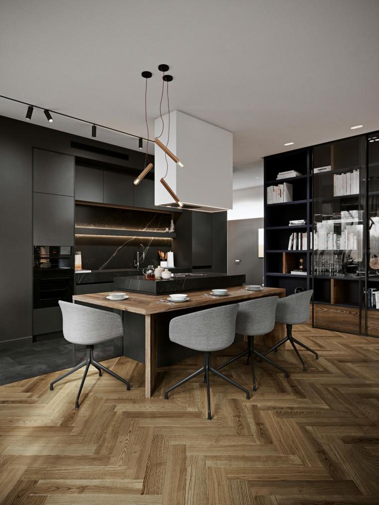 Come arredare la cucina, isola centrale con tavolo in legno, cucina con mobili di colore nero