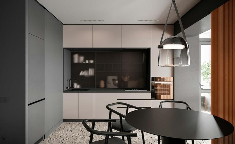Come arredare la cucina, open space cucina e tavolo da pranzo, mobili in legno bianco e nero
