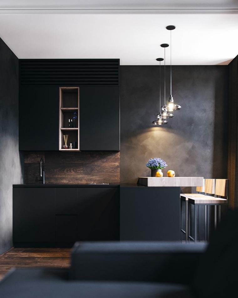 Come arredare la cucina, arredamento con mobili di colore nero, illuminazione con lampadari sospesi