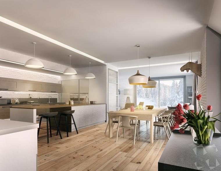 Cucina sala da pranzo open space, pavimento in legno parquet di colore chiaro