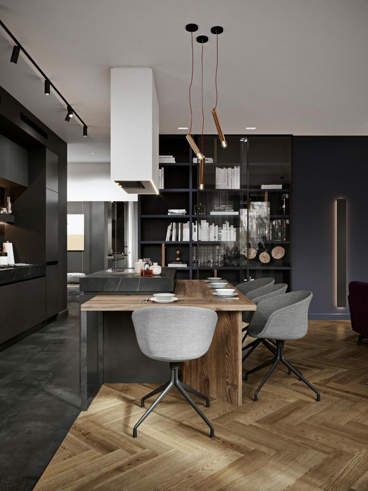 Come arredare la cucina, isola centrale con top in marmo, open space cucina e sala da pranzo