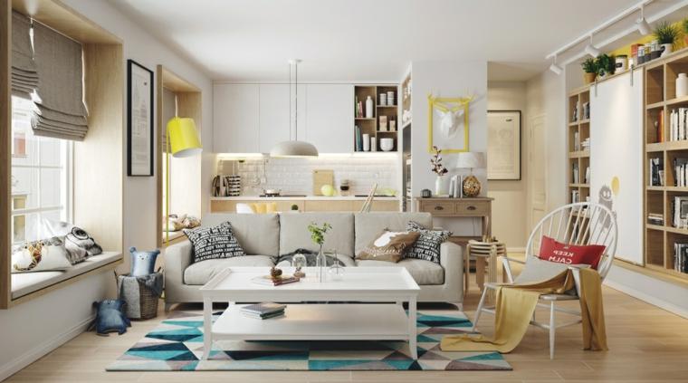 Soggiorno cucina open space, arredamento zona living con divano grigio