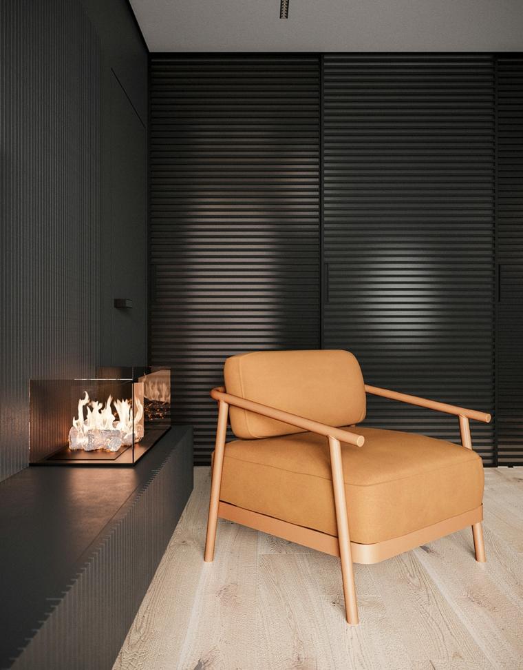 Soggiorni moderni, poltrona in pelle marrone, salotto con camino moderno