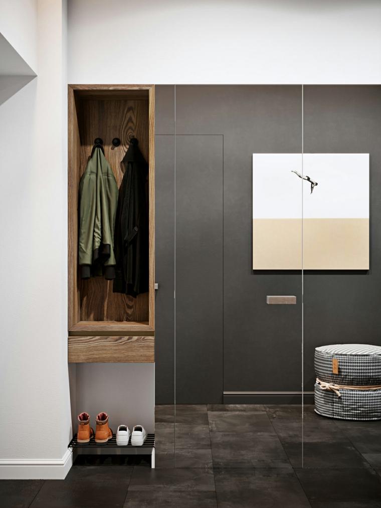 Arredamento moderno casa, mobile con specchio per l'ingresso, armadio con appendiabiti
